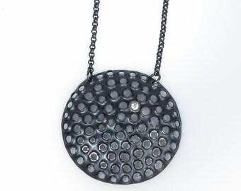 Large pendant necklace/ Big round oxidized sterling silver/ White gemstone/ Modern black minimal statement/ 17 inch chain/ NPROXCZ-40mm