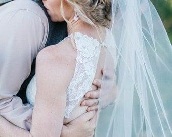 Bridal Veil, Fingertip Wedding Veil, One Layer Veil with Silver Metallic Edge