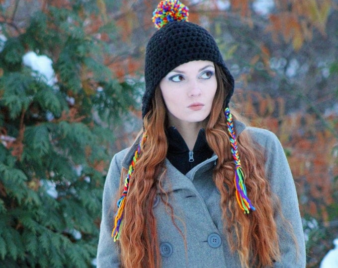 Rainbow PomPom Hat Black Earflap Trapper Handmade Crochet Gift For Him or Her