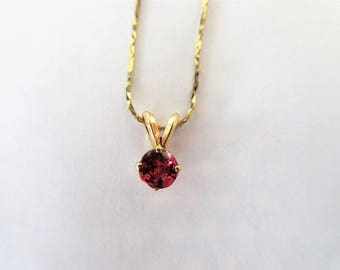 "14K Yellow Gold~PINK SAPPHIRE Solitaire Pendant NECKLACE-15"" Chain"