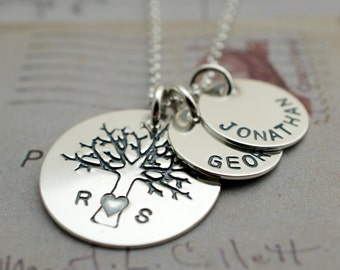 Family Tree Jewelry - Personalized Mother's Necklace - Custom Hand Stamped Jewelry in Sterling Silver by EWD - Oak Tree of Life