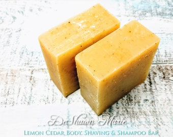 SOAP- Lemon Cedar Soap, natural soap, shampoo bar, shaving soap, cold process soap, father's day gift, christmas gift, bugs off camping soap