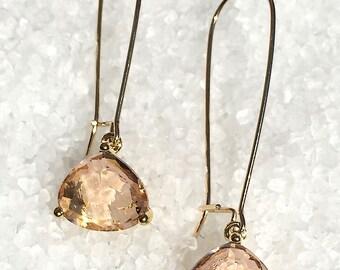 Peach Crystal Dangle Earrings, Glass Dangle Earrings, Faceted Glass Earrings