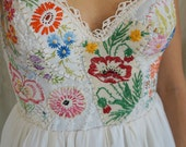 Meadow Bustier Wedding Gown or Formal Dress... boho whimsical woodland country vintage hand embroidered eco friendly
