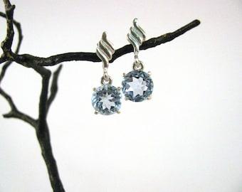 7mm Topaz Sterling Silver Dangle Post Earrings approx 5 ct RKS553