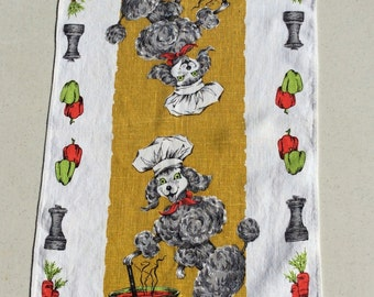 Vintage Towel Poodle Chef Stirs the Pot