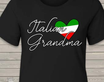 Italian grandma shirt nonna custom DARK crew neck or vneck shirt -  great birthday or Mother's Day gift MMGA1-014-DV