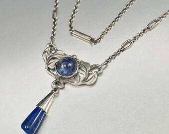 Antique Arts & Crafts Lapis Lazuli Necklace, Sterling Silver Pendant, Circa 1900s Sodalite Blue Stone Leaf Necklace, Art Nouveau Necklace