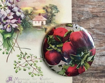 apples. pocket mirror. gift. fruit. vintage postcard. coworker gift. repurposed. bridesmaid gift. mother's Day gift. friendship gift.