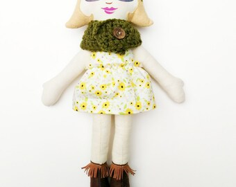 """Blond Cloth Heirloom Doll, 18"""" Rag Doll with glasses and cowl, blonde doll, cloth doll, Christmas doll, soft doll, fabric doll"""