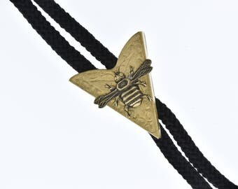 Western Bolo Tie, with bee charm, made in USA