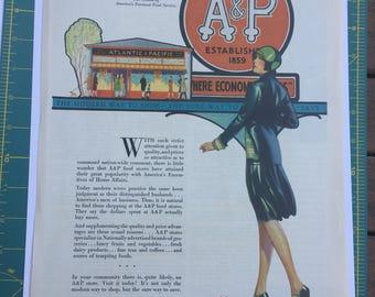Original 1929 A&P Atlantic and Pacific Print Advertisement