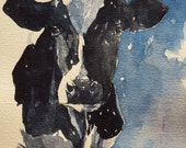 Holstein Cow Print Holstein Art 8.5 x 11 paper cow painting cow watercolor cow art print cow picture cow decor holstein art print holstein