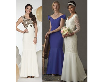 Wedding Dress, Bridesmaid Dress or Prom Dress - Simplicity 8329  - Floor length dress with flared Skirt, Sizes  4 - 12 or 12 - 20