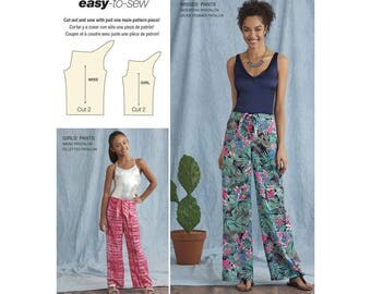 Mother & Daughter Pant Pattern, Simplicity 8390 Sewing Pattern, Girls Sizes 7/8 -10/12 -14/16, Misses Sizes 6/8 -10/12 -14/16 -18/20 -22/24