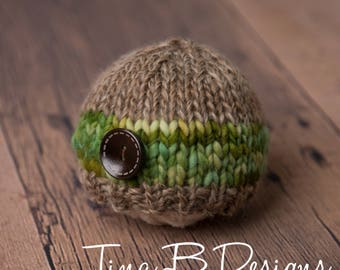 READY TO SHIP Newborn knit beanie in browns and greens with wood button