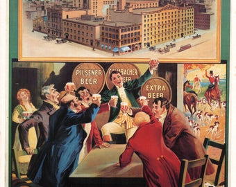 Vintage Brewery Poster - David Stevenson Brewing Company New York City  Beer Poster to Frame