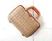 Vintage Wicker Purse | 1960s Handbag | Woven Basket Bag