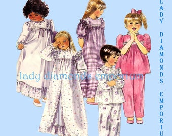 McCalls 3392 Girls Full Length Robe Nightgown Pajamas Top Pants Babydoll Gown Childs size 2 3 4 Vintage 80's Sewing Pattern Uncut FF
