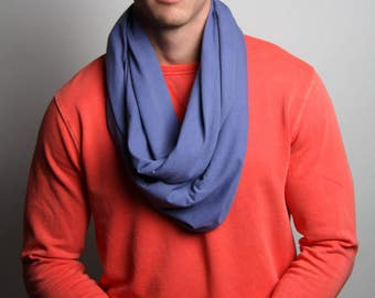 Blue Scarf, Infinity Scarf, Men's, Women's, Soft, Jersey Cotton