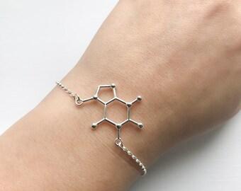 Sterling Silver Caffeine Bracelet - Caffeine Molecule, Science Jewellery, Chemistry Jewellery