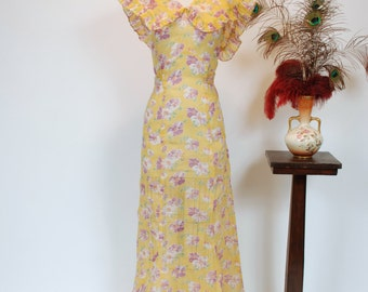 Vintage 1930s Dress - Rare Crisp Floral Print Yellow and Purple Organza Garden Party 30s Gown with Dramatic Collar