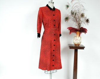 Vintage 1950s Dress - Chic Red and Black Printed Tailored Day Dress in Faille with Velvet Dress