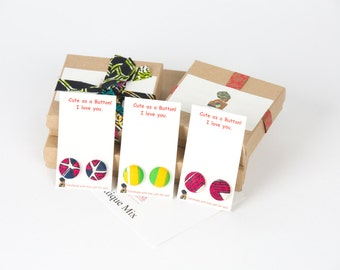 Fabric button earrings gifts for her