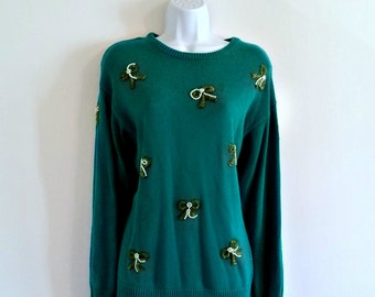 Vintage 90s Pearl Beaded Bows Sweater - Size L or OS