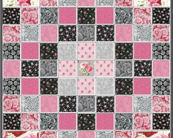 French Paris Chic~Precut Quilt Kit~Heart Roses~Paisley~Lace~Pink~Black~Gray~Fabric~QK#71