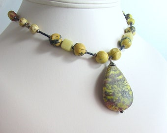 Natural Stone Pendant and Beaded Necklace, Lepidolite Teardrop with Yellow Jasper and Vintage Glass Beads, Original, Chunky, One of a kind