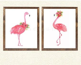 Flamingo Watercolor set/pink flamingo wall art/ Girls Wall Decor/ Pink Watercolor Art/ Tropical Wall decor/ girls nursery decor