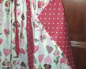 Valentine Apron / Pink Heart Print / red accent fabric / half apron