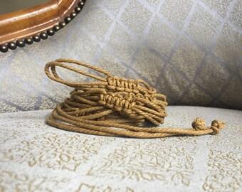 Woven Brown Raffia Tie Knot Belt - Vintage 70s