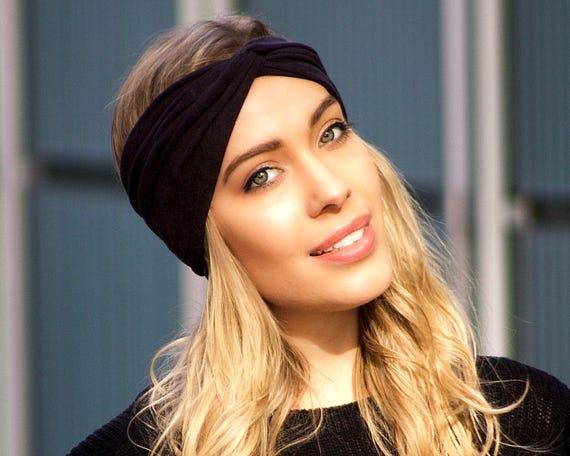 Black Suede Headband Faux Vegan Suede Turban Headband Headwrap Hair Accessory Leather Turban Fall Fashion Ear Warmer Boho Chic Velvet