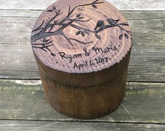 Love Birds Ring Box, custom personalized rustic ring box, wedding ring box, ring bearer box, wooden ring box, egagement ring box