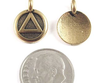 TierraCast Pewter Round Sobriety Charms-Gold Recovery Symbol 12x16mm (2)