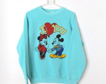 Vintage 80s MICKEY and MINNIE  Mouse I love you RAGLAN sweatshirt