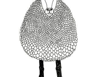 Sheep print illustration art print