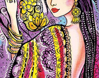 beautiful woman painting Indian decor bride art feminine beauty wall decor art gift, feminine decor, beauty painting print 8x12+