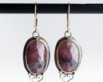 Priya Earrings in Gold & Silver w/ Pink Rose Cut Sapphire