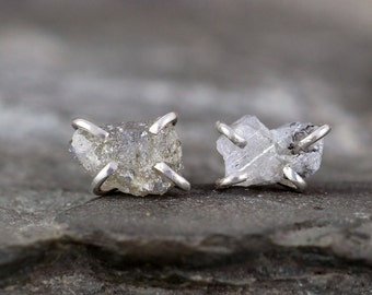 Uncut Labradorite Earrings - Raw Rough Labradorite - Natural Gemstone - Handmade Sterling Silver Stud Earring - Stud Gemstone Earrings