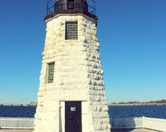 "Landscape Photography, Lighthouse, Nautical, Seaside, Newport, Rhode Island, Rustic, 6x9 or 8x12. ""Goat Island Light, No.1""."