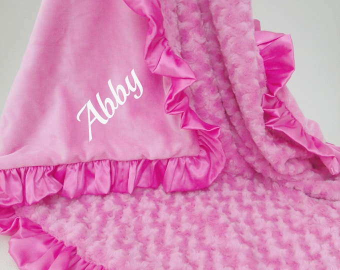 Smooth Bright Pink Minky and Rose Swirl Baby Blanket Can Be Personalized