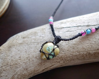 Tibetan Turquoise macrame Necklace- Stone of Purification- shaman ethereal square pendant healing crystal