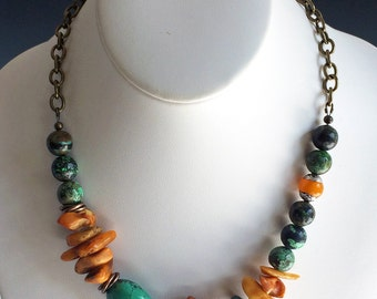 PRICE REDUCTION 15% OFF   Turquoise and Amber Necklace   Mixed Stone Necklace   Rustic Necklace   Baltic Amber and Turquoise