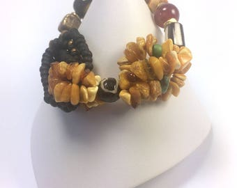Amber and Bead Bracelet   Multistrand Bracelet   Boho Style Bracelet   Gift Bracelet