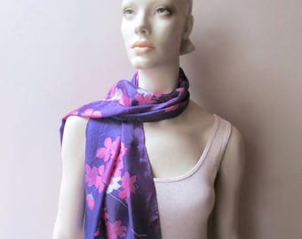 vintage long silk scarf pink cherry blossoms royal purple 1960 fashion