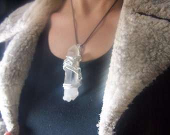 Lemurian Double Terminated Crystal 3.5 inch large Sterling Silver wire wrap necklace pendant, rare elestial alien clear Quartz castellation