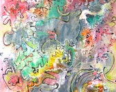 """Fall color abstract painting, original painting 36"""" x 18"""" abstract, modern autumn painting, abstract colorful art, sjkim"""